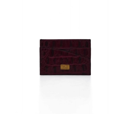 Cardholder Double Curve - Maroon
