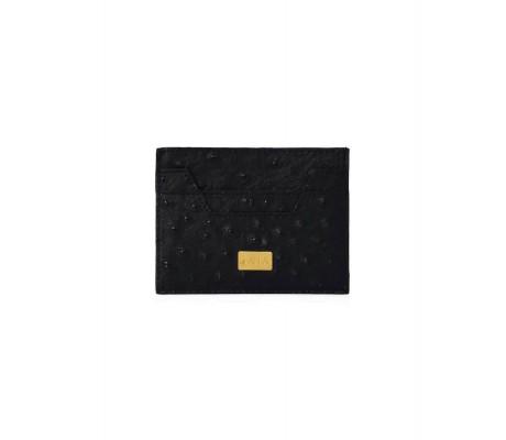 Cardholder Hex Cut Ostrich - Black
