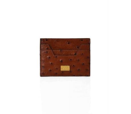 Cardholder Hex Cut Ostrich - Brown