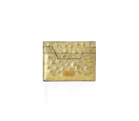 Cardholder Hex Cut Ostrich - Gold