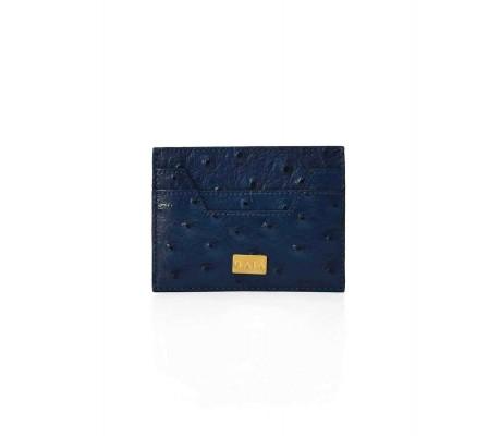 Cardholder Hex Cut Ostrich - Navy