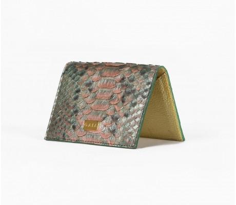 Cardholder Python - Multi Metallic Green
