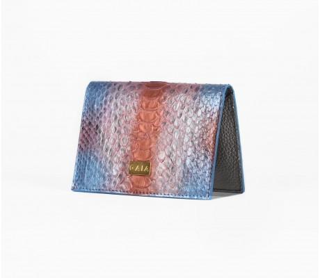 Cardholder Python - Multi Blue and Salmon