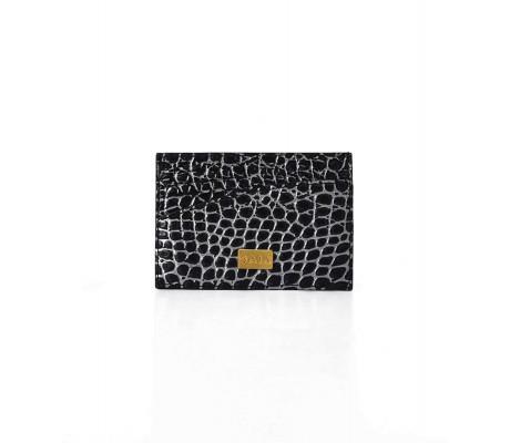 Cardholder Single Curve - Black Ancien