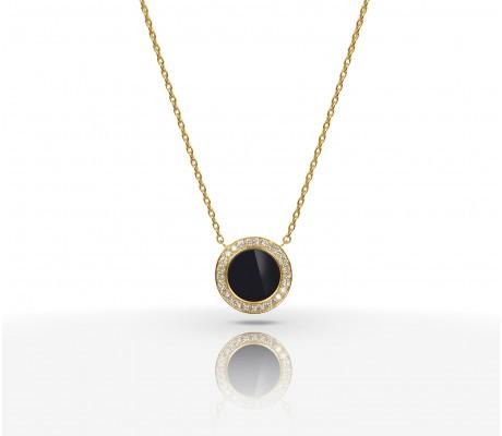 JW Circle Of Life - Necklace YG Onyx