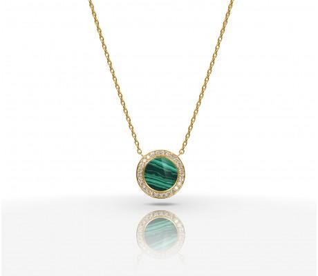 JW Circle Of Life - Necklace YG Malachite