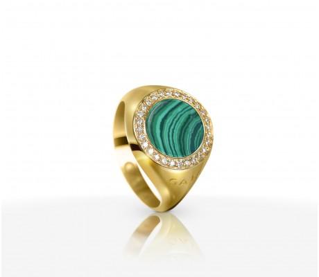 JW Circle Of Life - Ring YG Malachite