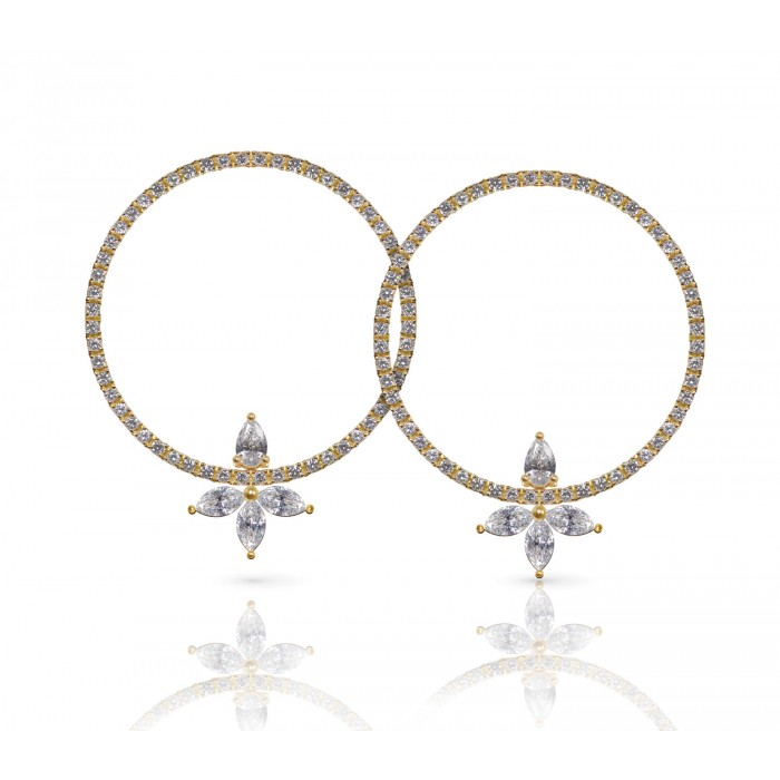 JW - Halo Earrings - Yellow Gold