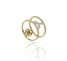 JW - Halo Ring - Yellow Gold