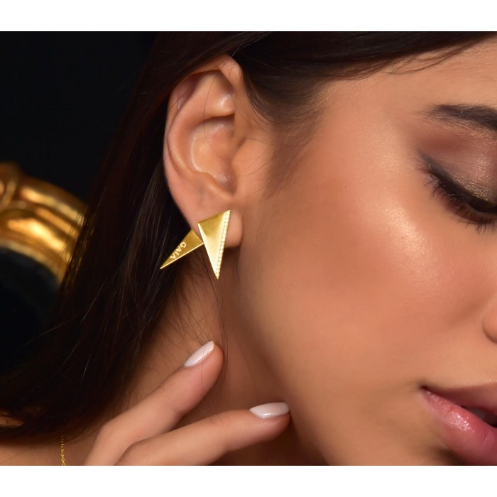 JW Pyramid - Earrings Yellow Gold