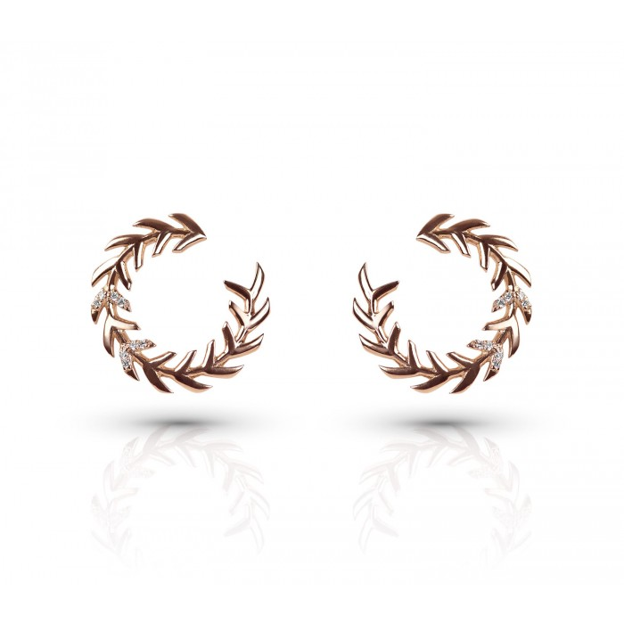 JW - Palm Earrings2 - Rose Gold