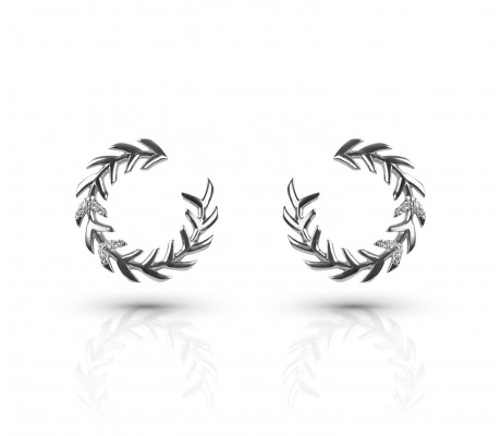 JW - Palm Earrings2 - White Gold