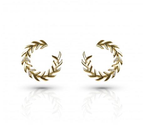 JW - Palm Earrings2 - Yellow Gold