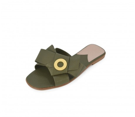 Napolian Shoes Flats - Olive Green