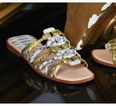 Roman Shoes - Multi White and Gold