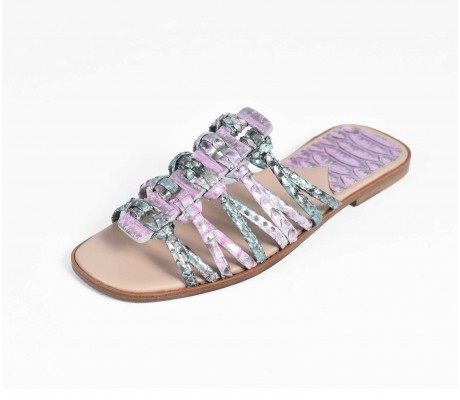 Roman Shoes - Multi Silver and Pink