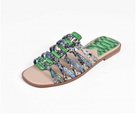 Roman Shoes - Multi Phosphoric Green