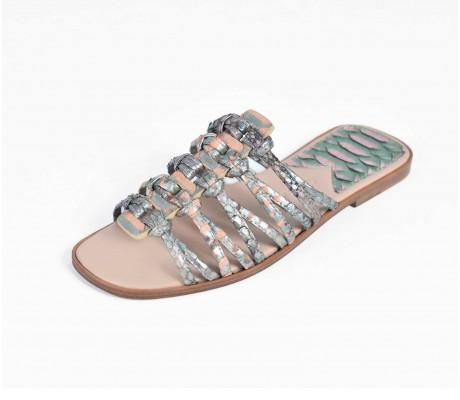 Roman Shoes - Metallic Green and Salmon