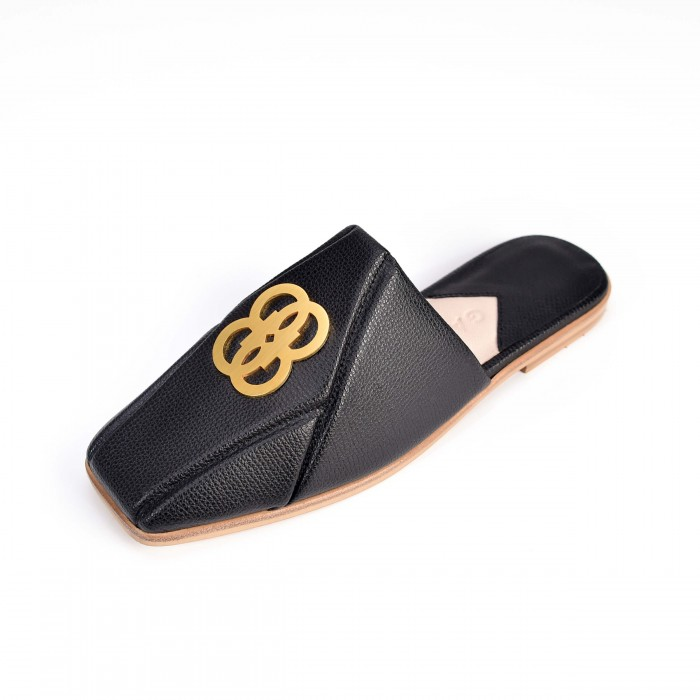 The 8 Collection Mules - Black and Gold